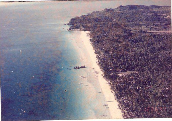Aerial view of lush verdant Old Boracay in the 80s