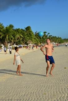 Boracay tourists play ball