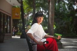 White kaftan and red sarong lounge wear