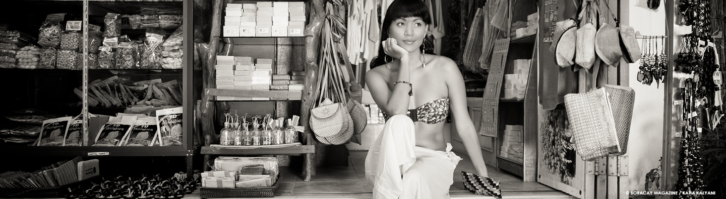 Female model in a small local souvenir shop
