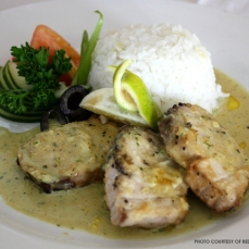 Grilled blue marlin fillet with orange and ginger sauce