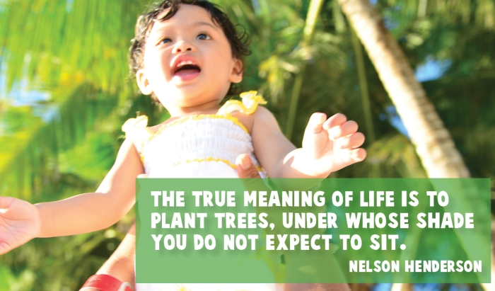 """The true meaning of life is to plant trees, under whose shade you do not expect to sit."" Nelson Henderson"