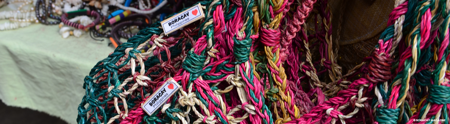 handwoven souvenir bags sold in Boracay, Philippines
