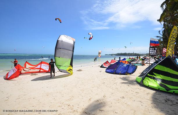 Kiteboarding in Bulabog Beach, Boracay Island.