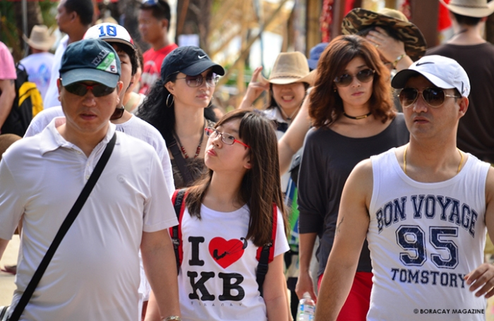 Chinese, Korean, Taiwanese, and other Asian tourists in Boracay, Philippines