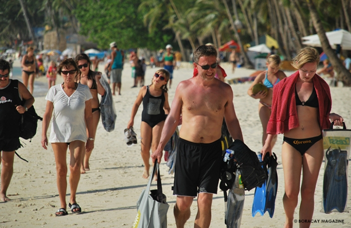tourists in Boracay's peak season