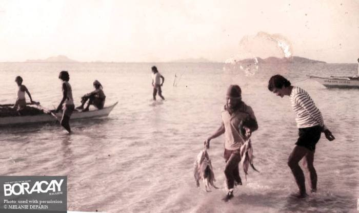 Old Boracay Photo with Fishermen on White Beach